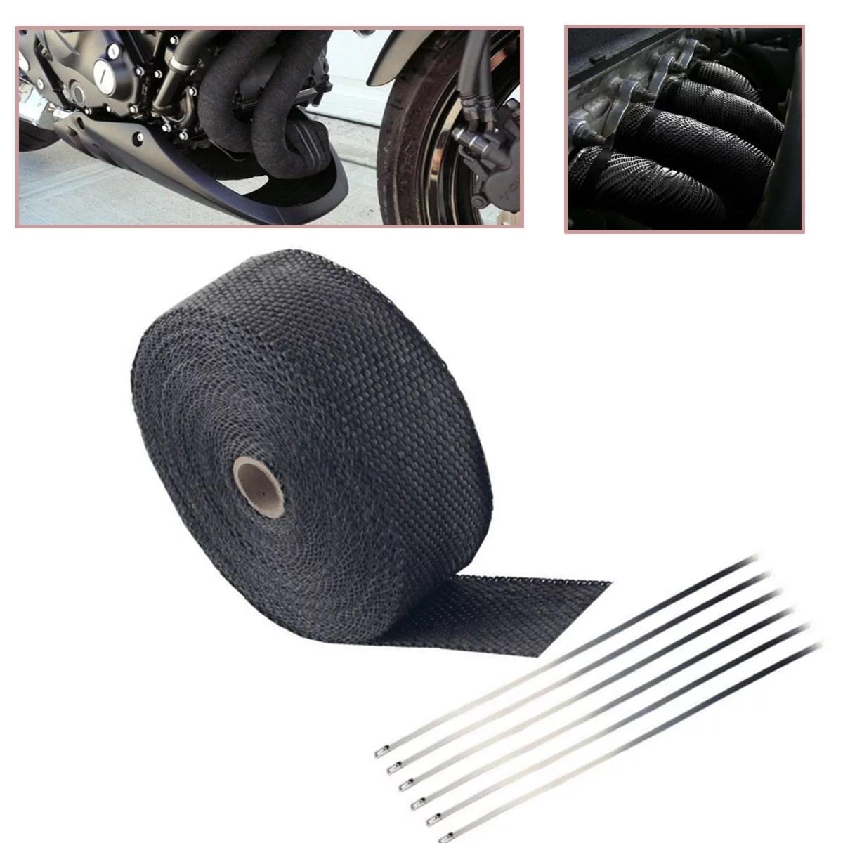2 50ft fiberglass exhaust header pipe heat wrap tape ties kit walmart com