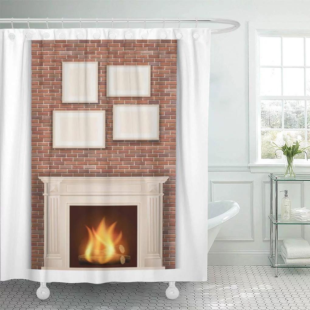 cynlon comfort christmas classic fireplace on brick wall hearth fire bathroom decor bath shower curtain 60x72 inch