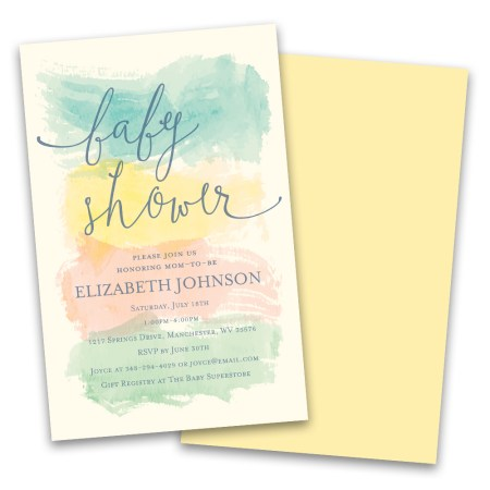 Personalized Pastel Watercolor Stripes Baby Shower Invitations