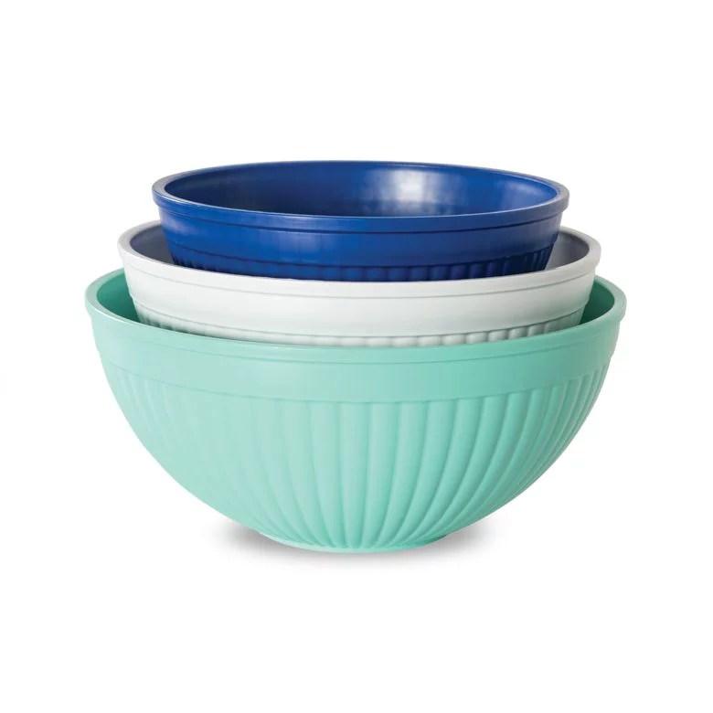 nordic ware 3 pc prep serve microwave safe mixing bowl set 2 qt 3 5 qt and 5 qt walmart com