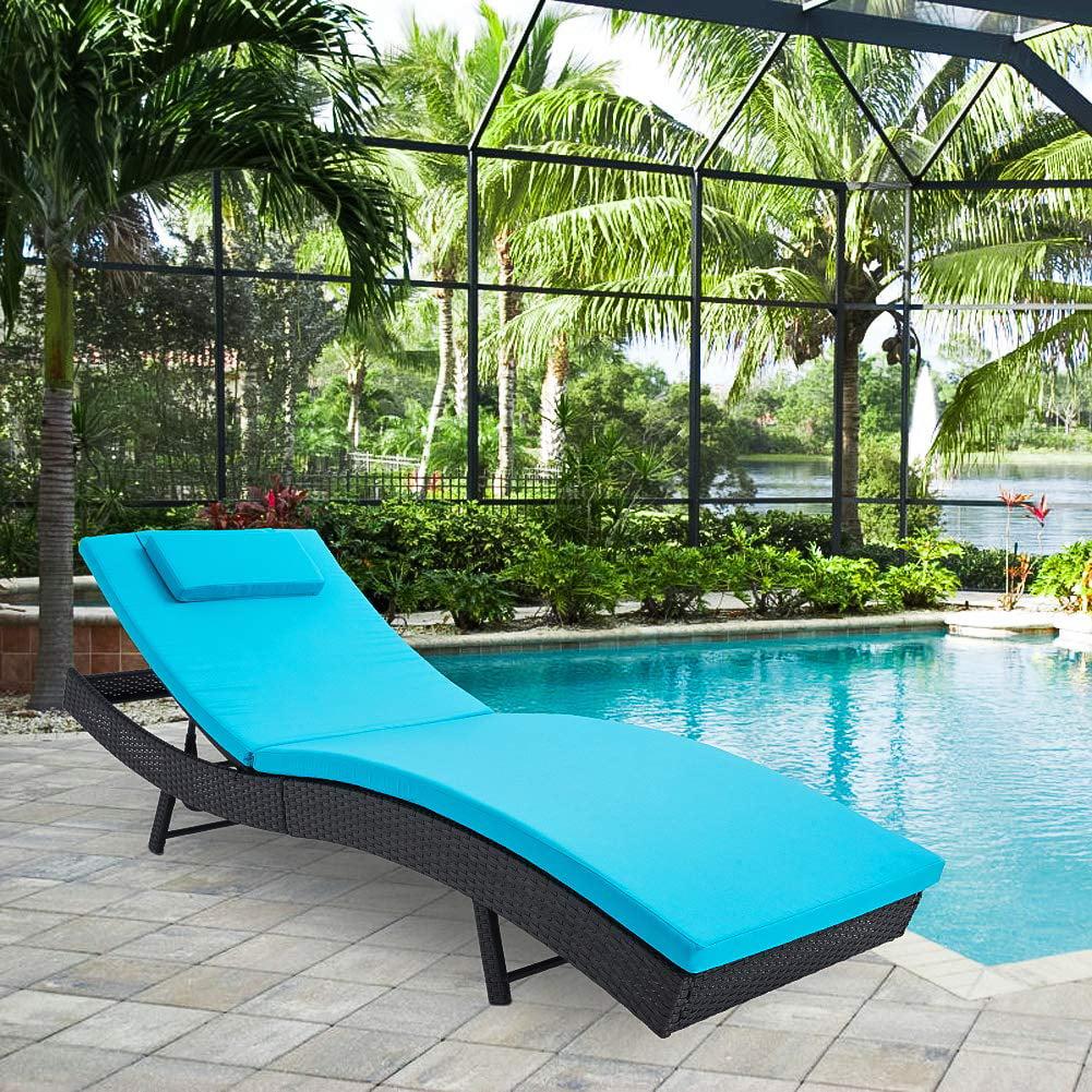 Kauai corner rattan chaise set. SUNCROWN Pool Chaise Lounge Chair Outdoor Patio Furniture