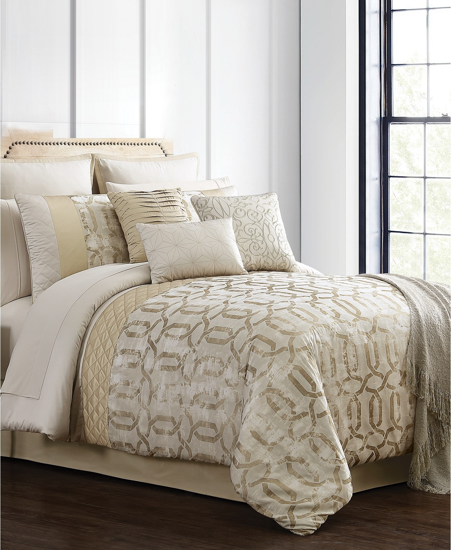 hallmart collectibles hedron 14 piece elegantly printed jacquard queen comforter set gold