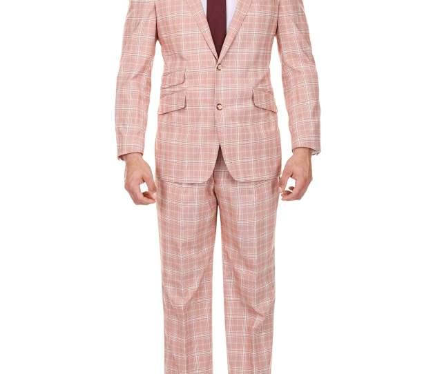Mens Red And Parchment Glen Plaid Classic Fit Pic Stitch Peak Lapel Suit
