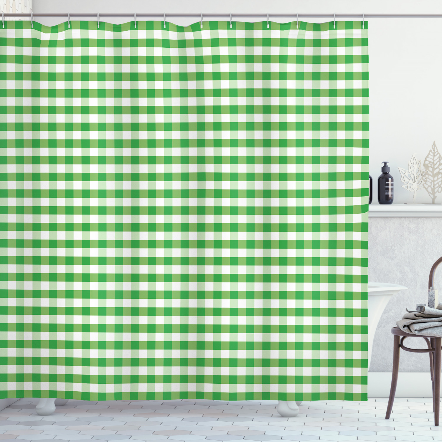 gingham shower curtain picnic blanket inspired green and white plaid retro gingham checkered pattern fabric bathroom set with hooks 69w x 70l