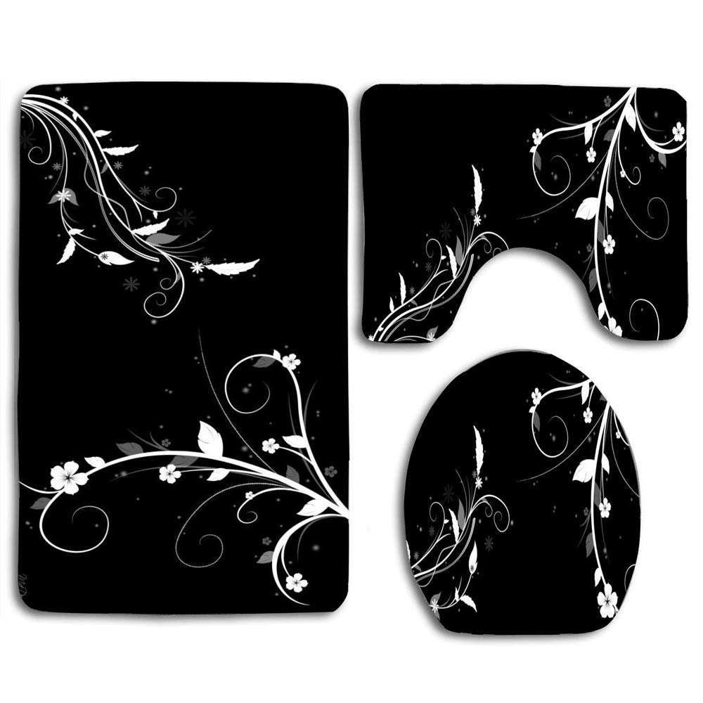 gohao black white floral abstract 3 piece bathroom rugs set bath rug contour mat and toilet lid cover walmart com