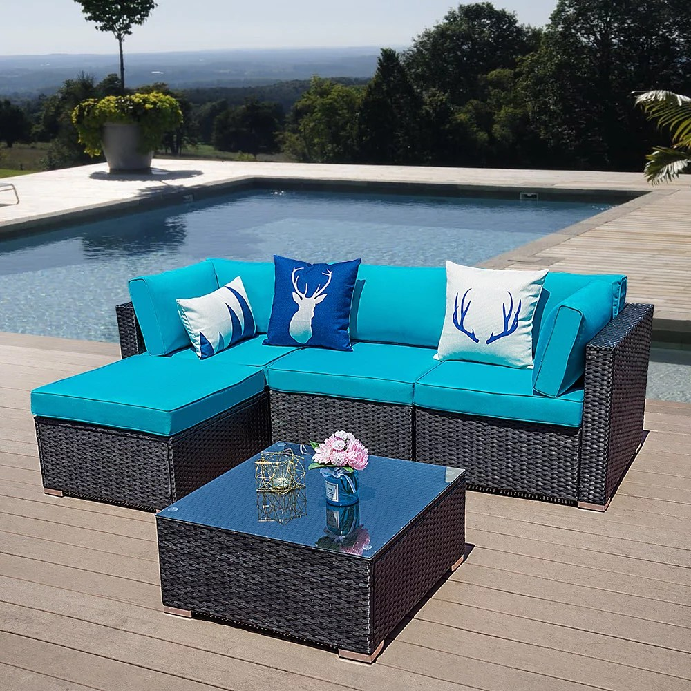 Download this bamboo sofa in living room photo now. 5 PCs Outdoor Furniture Sectional Sofa Set Patio Wicker ...