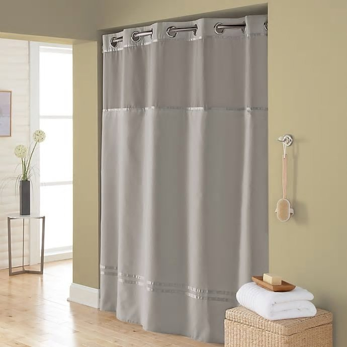 hookless escape 71 inch x 86 inch long fabric shower curtain and liner set in grey