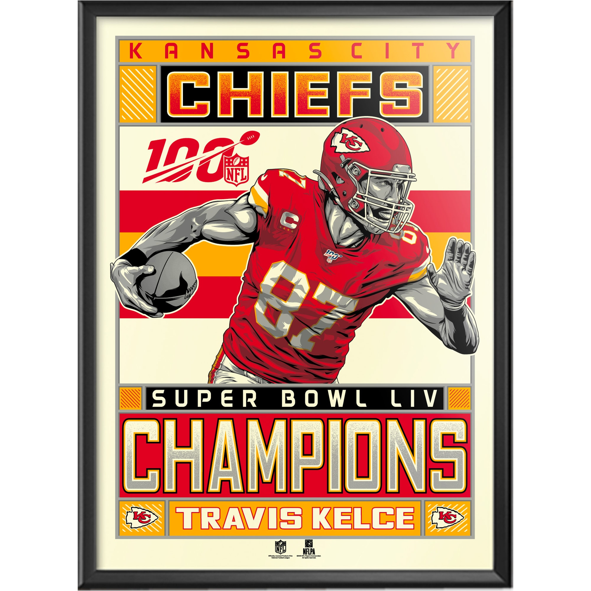 travis kelce kansas city chiefs super bowl liv champions limited edition 18 x 24 serigraph framed poster walmart com