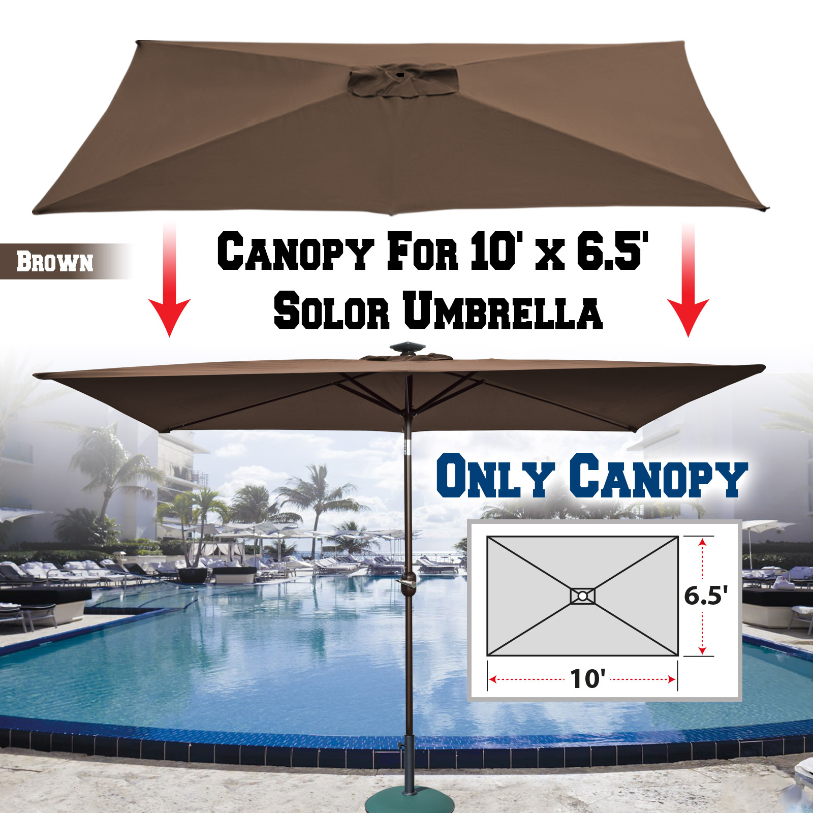 strong camel replacement umbrella canopy for 10ft x 6 5 ft 6 ribs patio umbrella top cover outdoor market canopy only brown