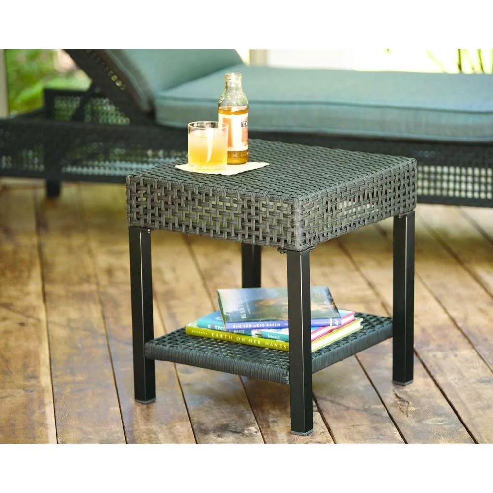 hampton bay fenton wicker outdoor patio side table d9131 ts walmart com