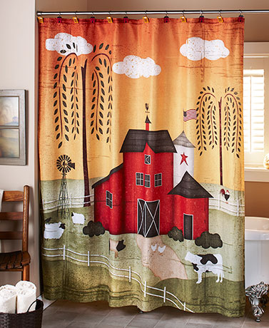 barnyard shower curtain primitive rustic farm country willow tree cow