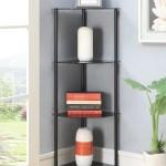 Convenience Concepts Designs2go No Tools 4 Tier Corner Shelf Black Glass Walmart Com Walmart Com
