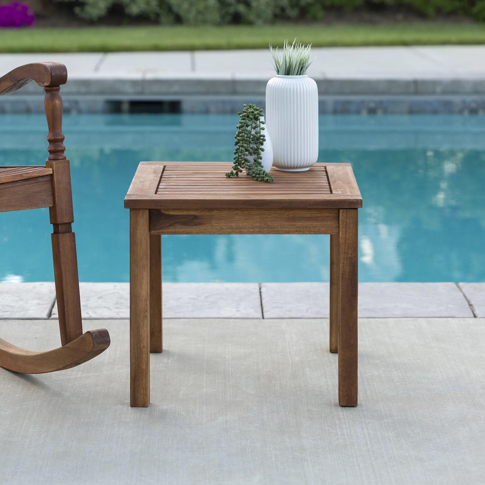 manor park acacia wood outdoor patio end table brown walmart com
