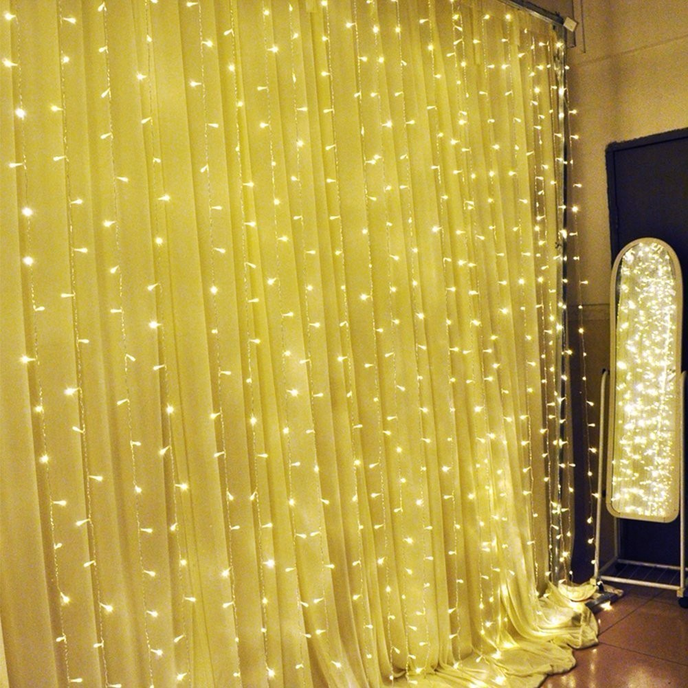 curtain string light 300 led fairy light string starry lights for indoor outdoor wall decoration christmas xmas wedding party warm white 3m x 3m