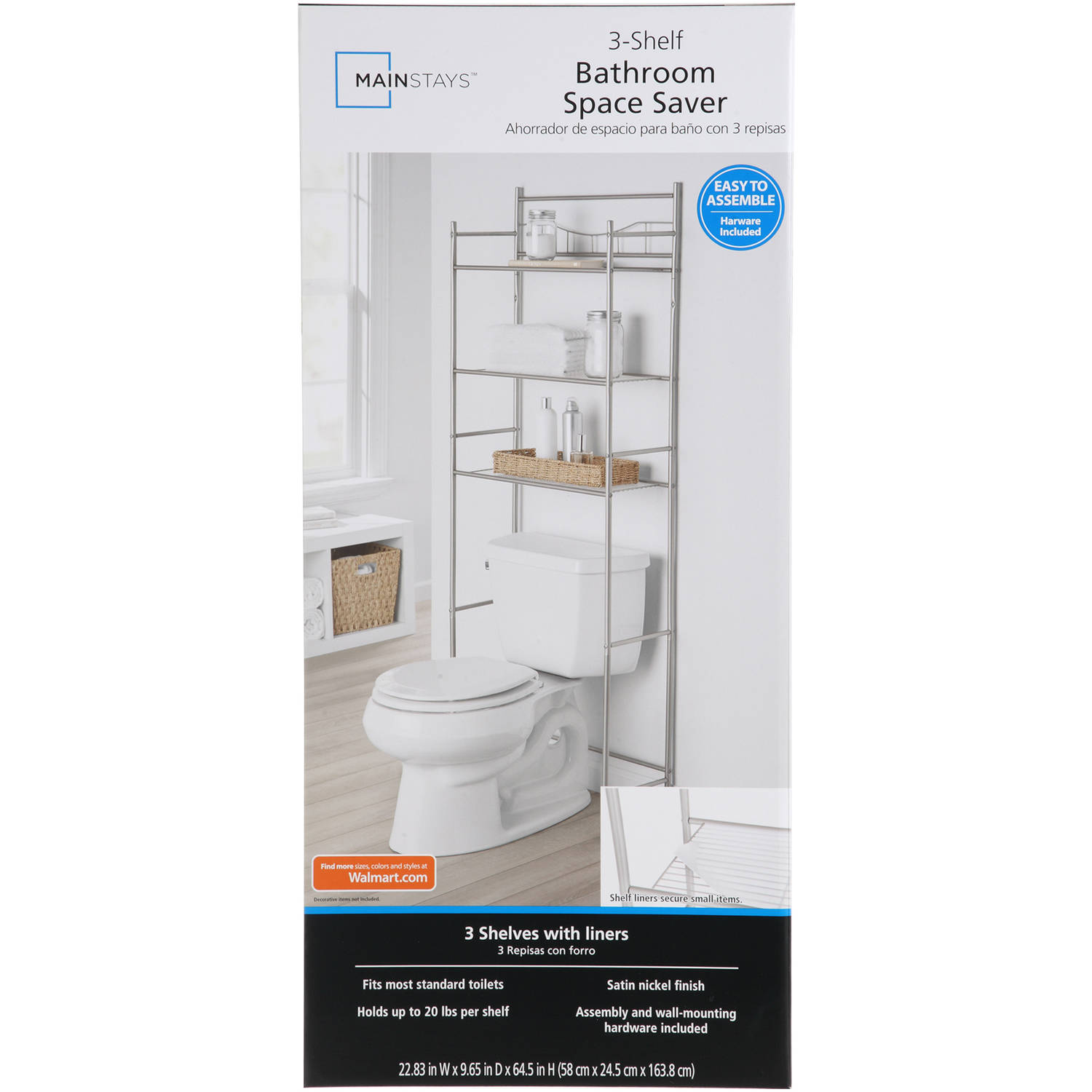 mainstays 3 shelf bathroom over the toilet space saver with liner satin nickel
