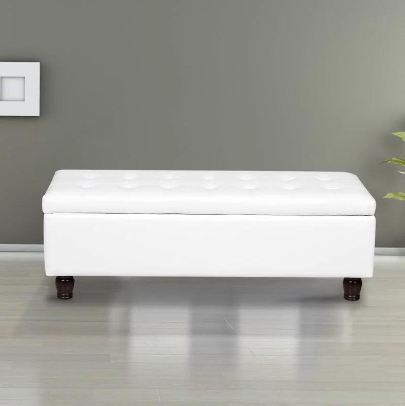 us pride furniture volume button tufted bonded leather storage ottoman bench cream white