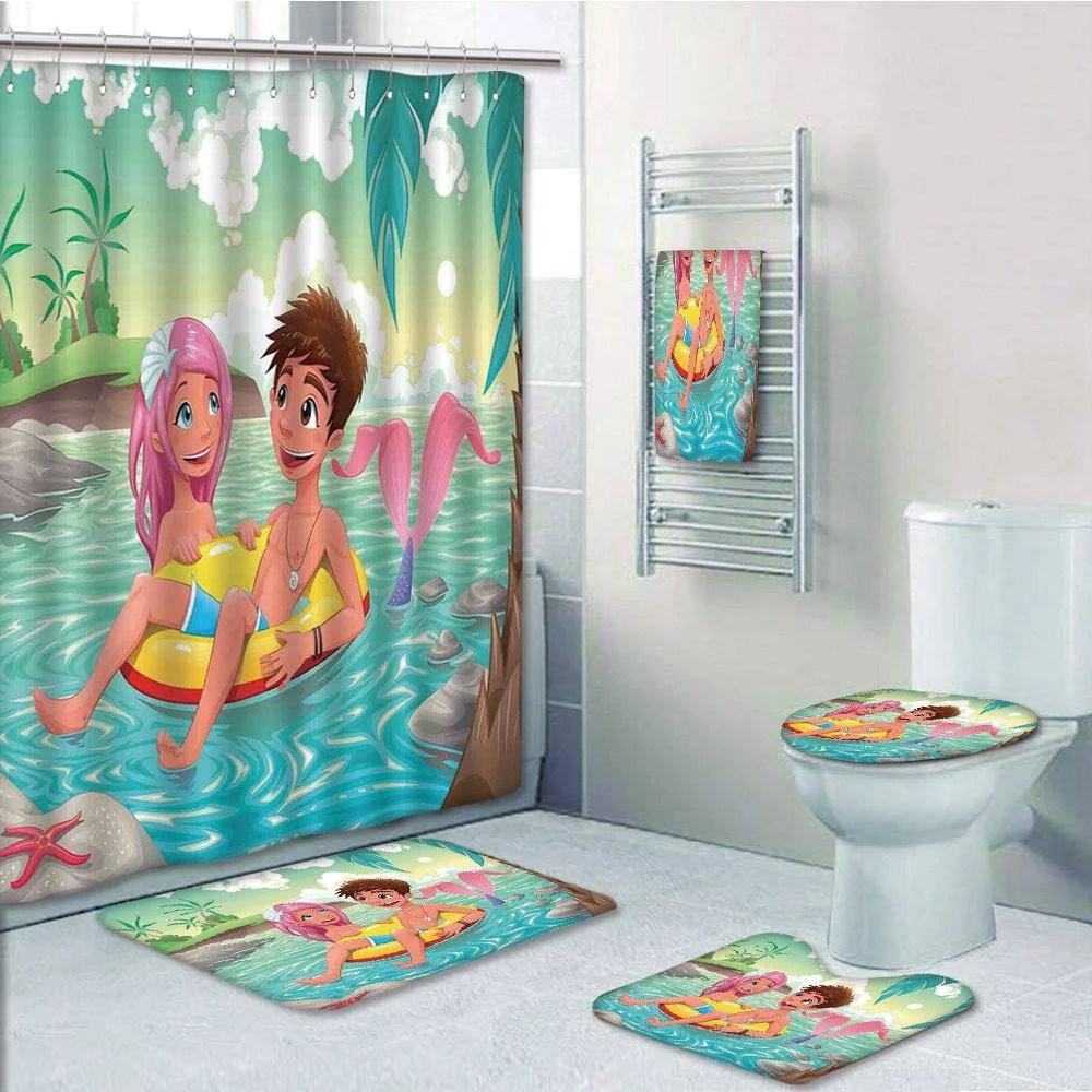 prtau mermaid teen boy cute mermaid swimming together in the tropical island funny love 5 piece bathroom set shower curtain bath towel bath rug