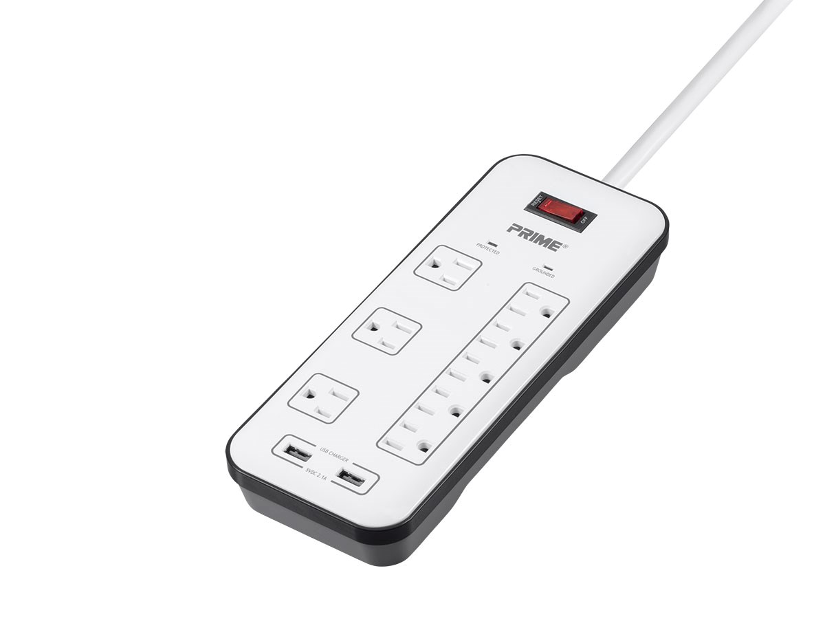 8 Outlet Surge Protector Power Strip With 2 Usb Charging
