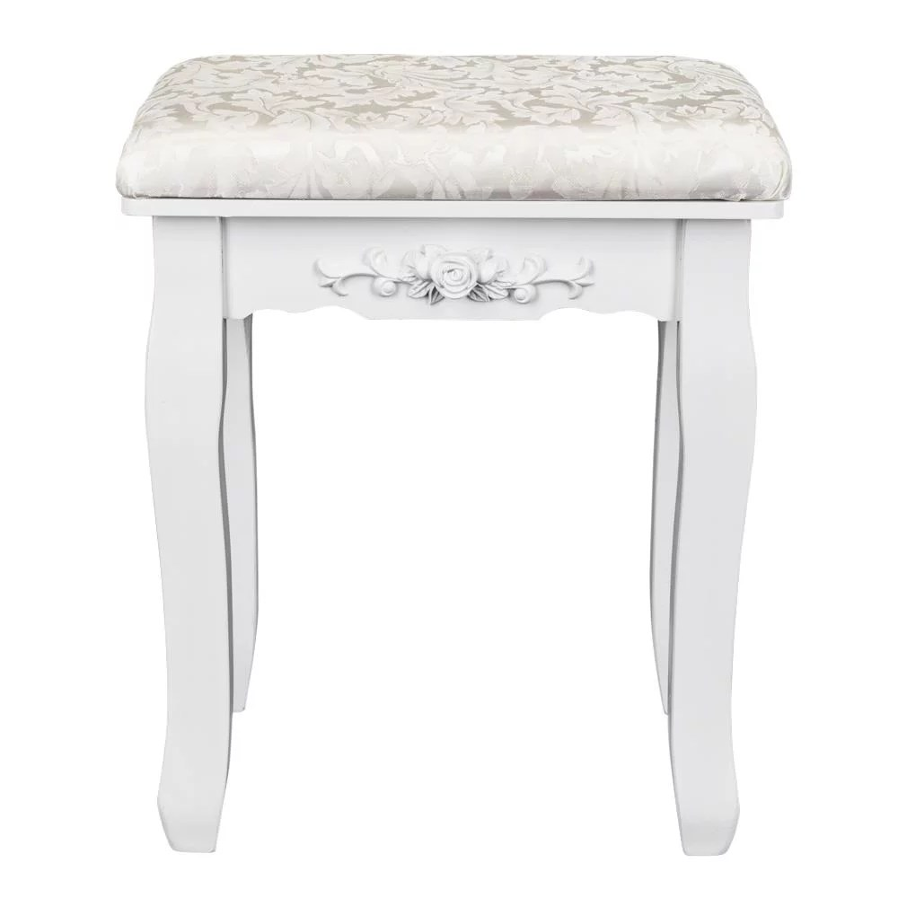 zimtown vanity stool padded cushioned bench chair with wood legs white