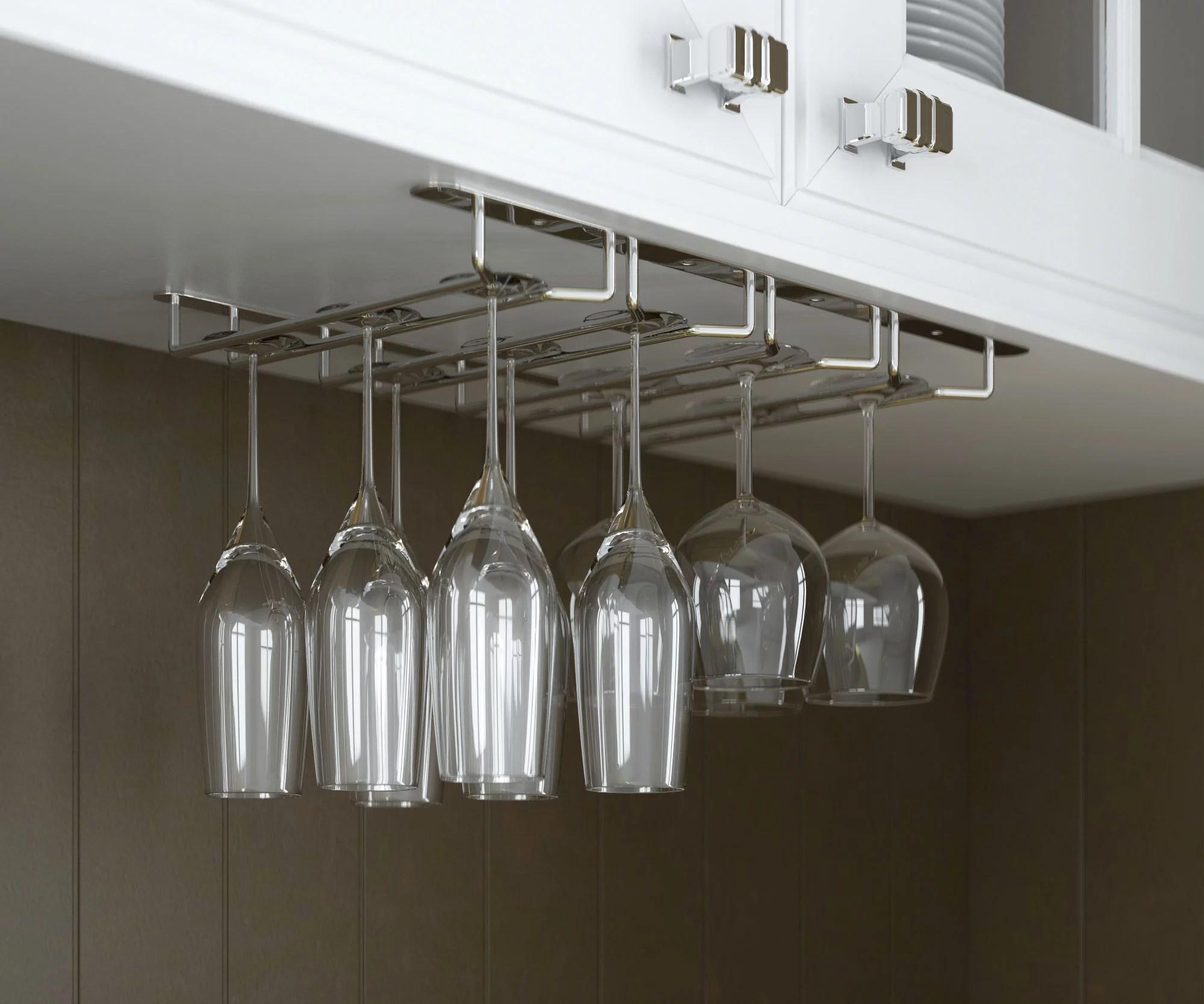 wallniture stemware glass rack wine glasses under cabinet chrome finish walmart com