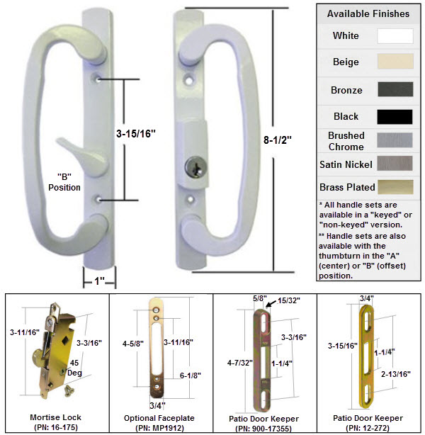 sliding glass patio door handle kit with mortise lock and keepers b position latch lever is off centered white keyed