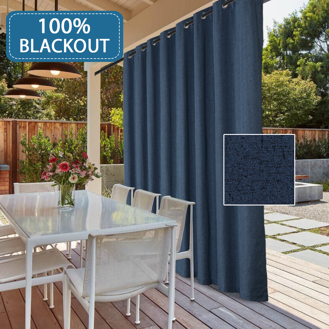 ultra thick and durable textured linen look thermal insulated 100 blackout patio curtain waterproof grommet decorative sliding door curtain panel