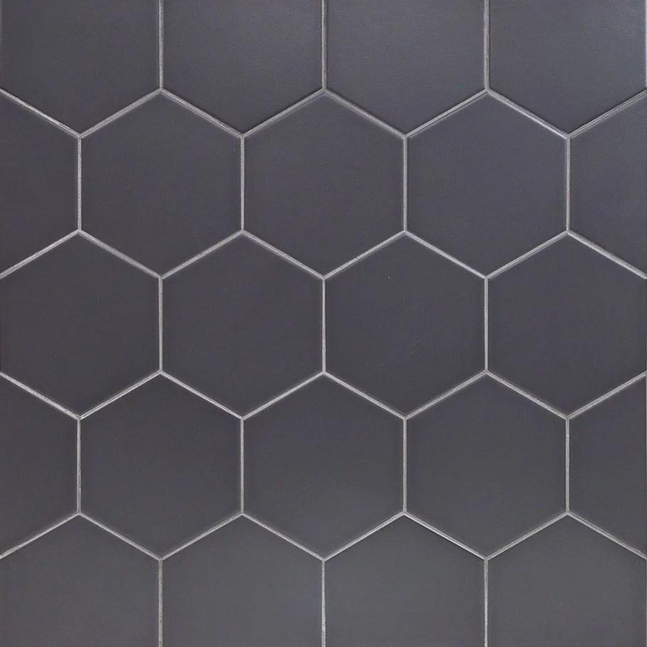 magen hex dark gray matte ceramic hexagon tile