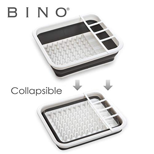 bino collapsible dish drying rack space saving folding dish and cutlery drainer for kitchen white