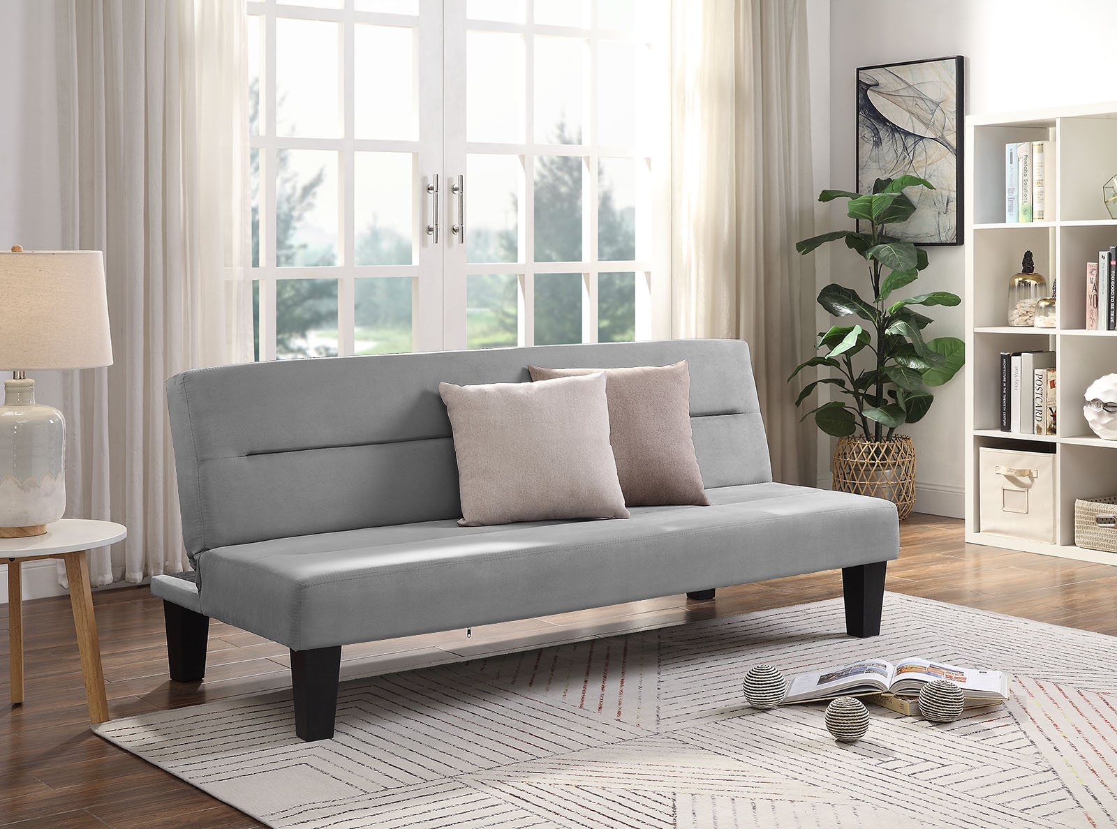 luxurygoods modern futon couch with gray microfiber cover sleeper sofa bed