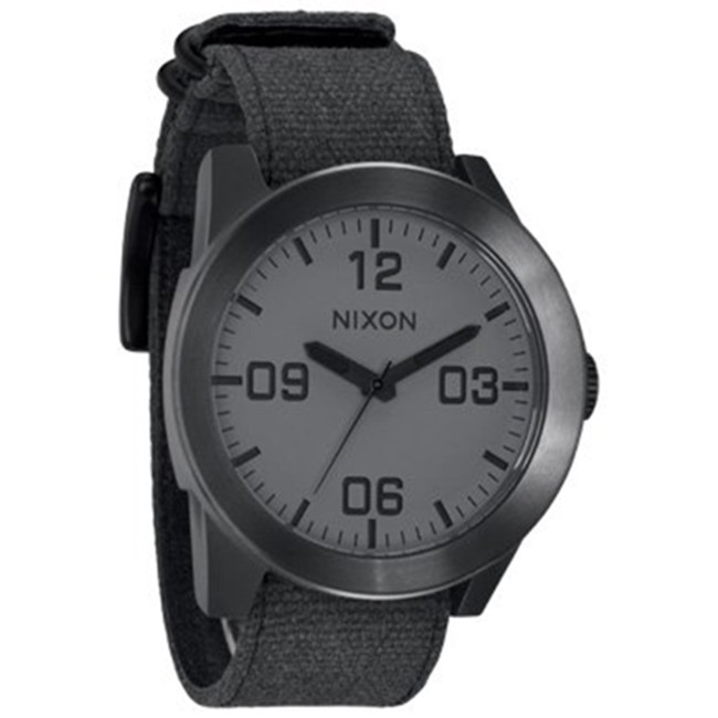 Nixon Men's Corporal A2431062 Black Cloth Analog Quartz Fashion Watch