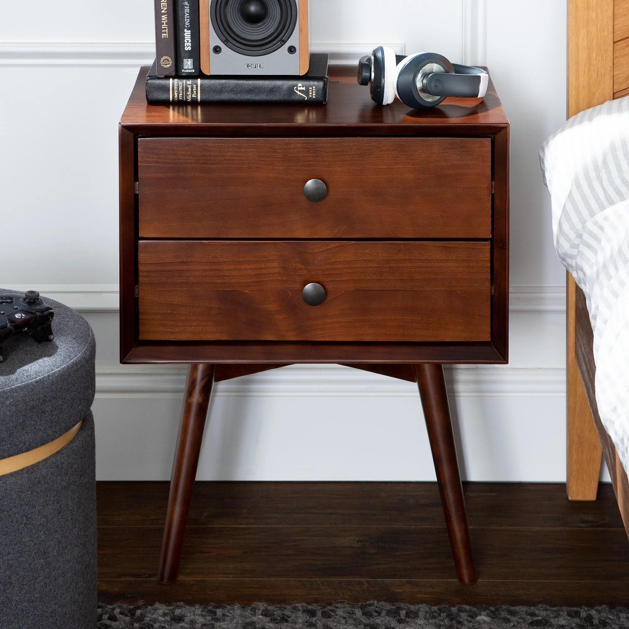 manor park mid century 2 drawer solid wood nightstand dark walnut