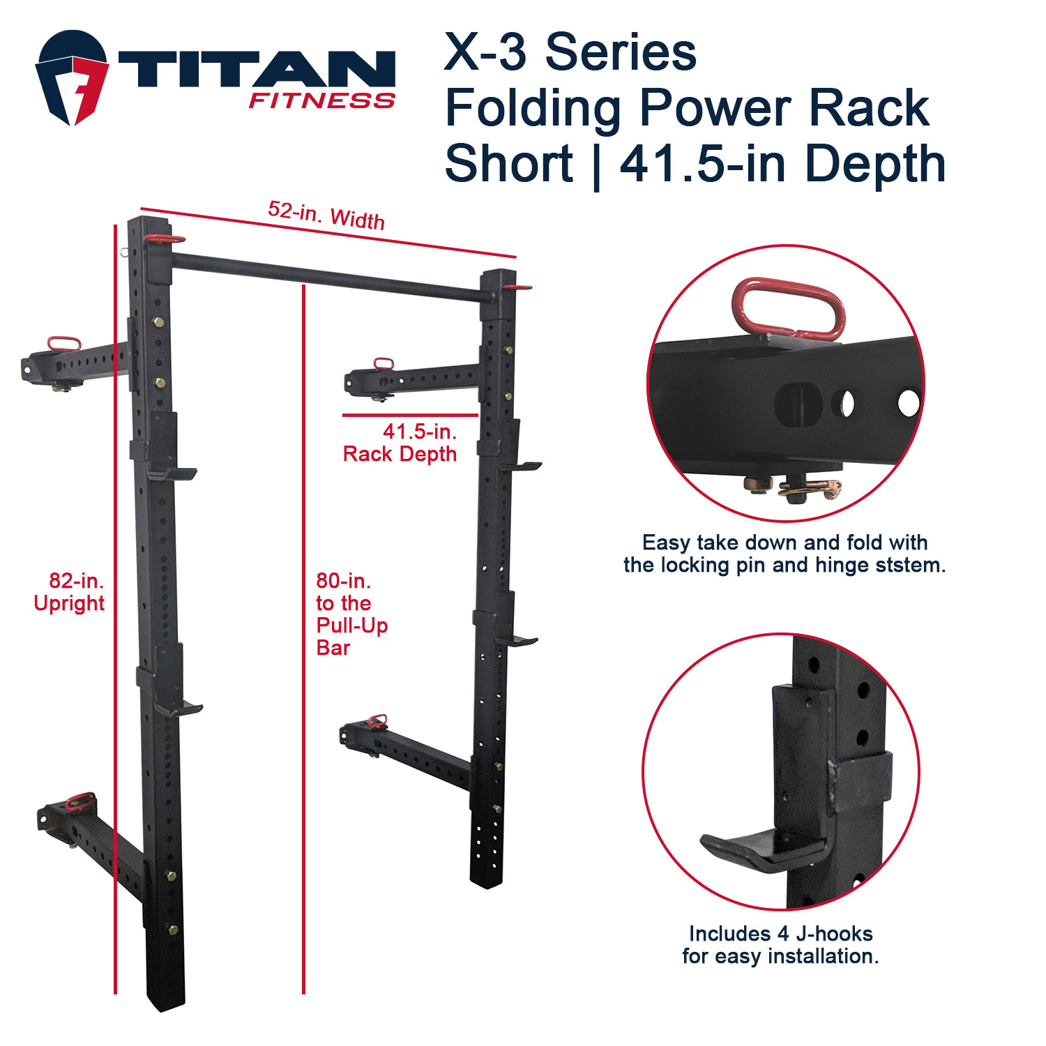 titan fitness x 3 series short folding power rack wall mount with 41 5 in depth