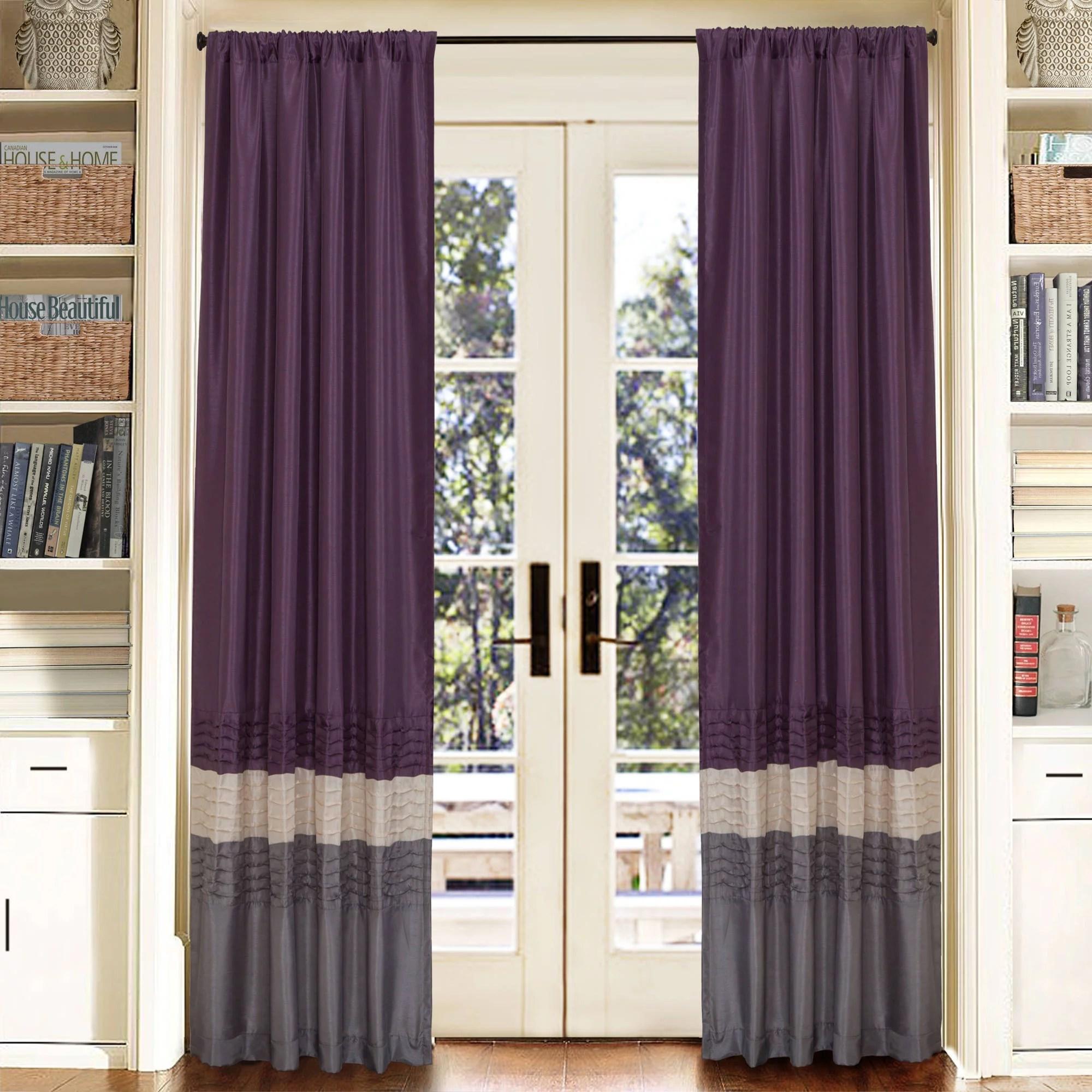 lush decor mia 84 x 54 stripe purple 100 polyester 3 rod pocket 2 pc set window panel