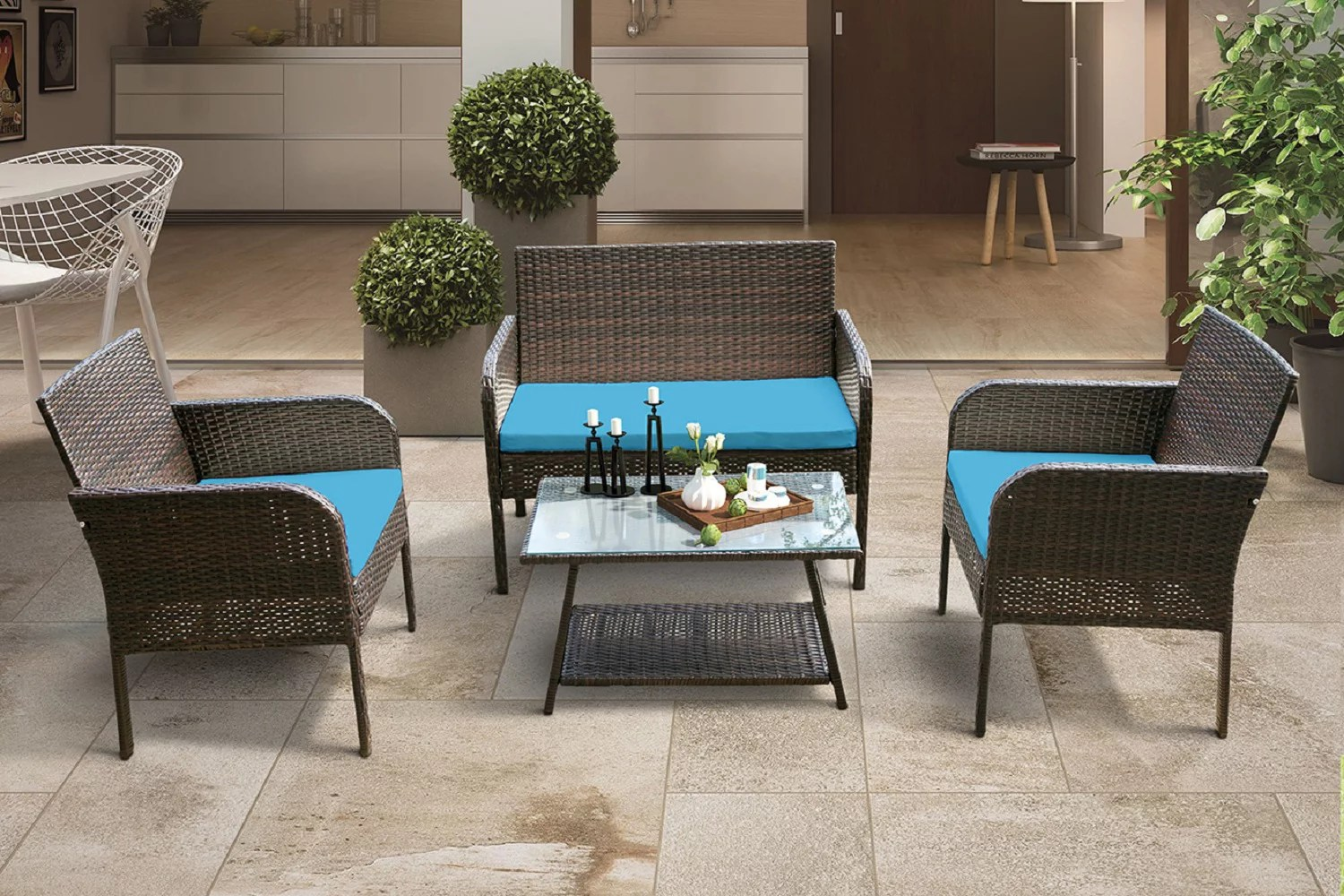 patio furniture sets on sale 4 piece wicker patio conversation furniture set w loveseat seats 2 armchair sofas coffee dining table and padded