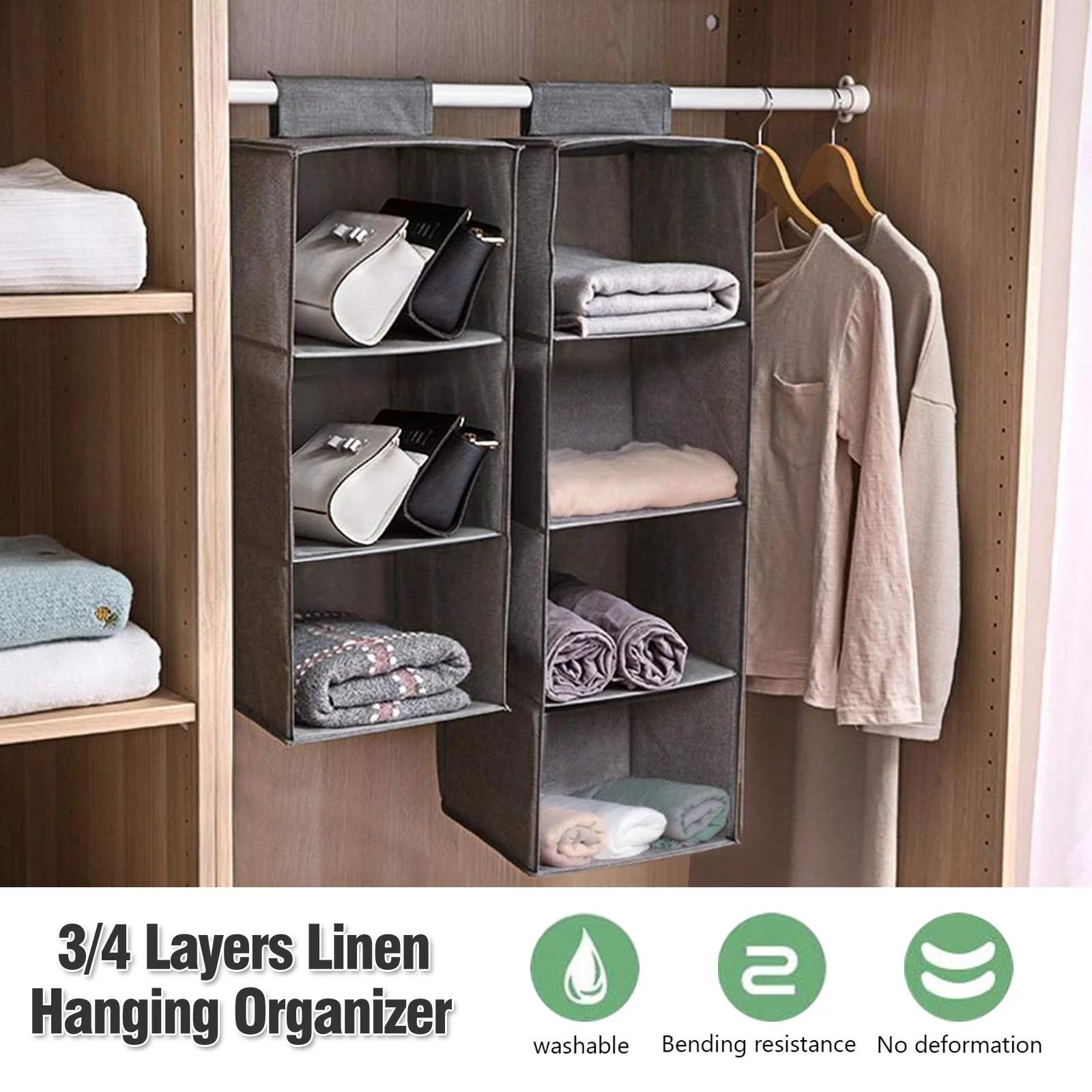 3-Shelf Foldable Hanging Closet Organizers Space Saver ... on Closet Space Savers Walmart  id=28869