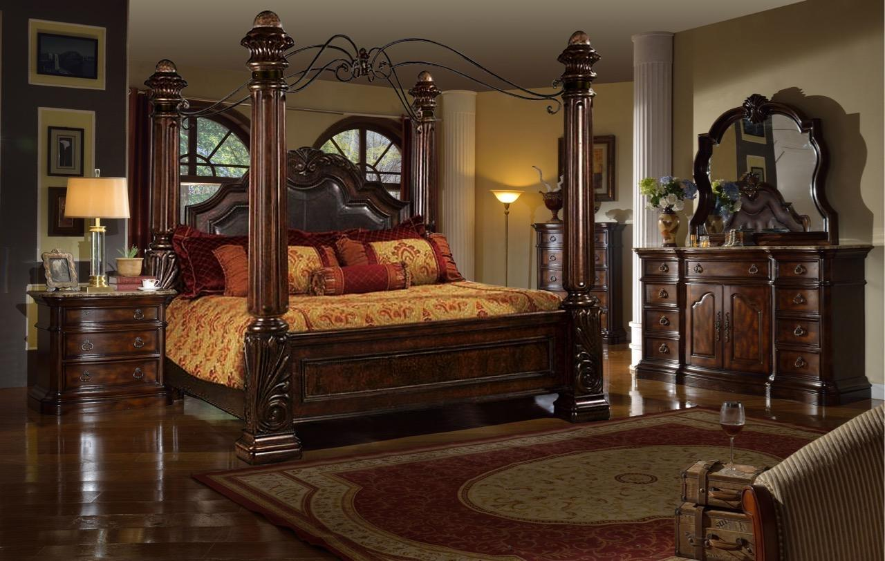 rich brown solid hardwood king canopy bedroom set 5pcs w on Mcferran Canopy Bed id=19153