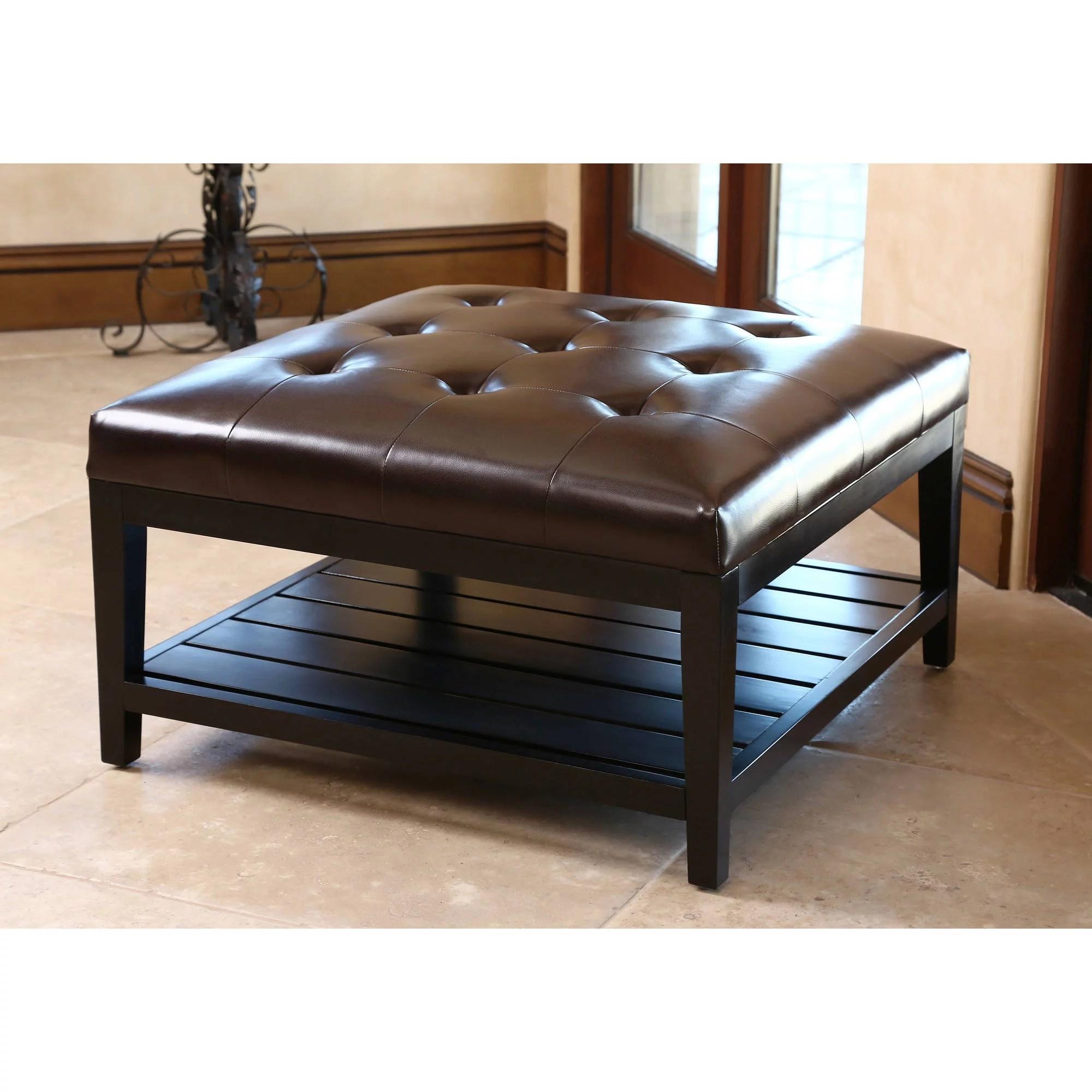 devon claire trafford dark brown leather square coffee table ottoman