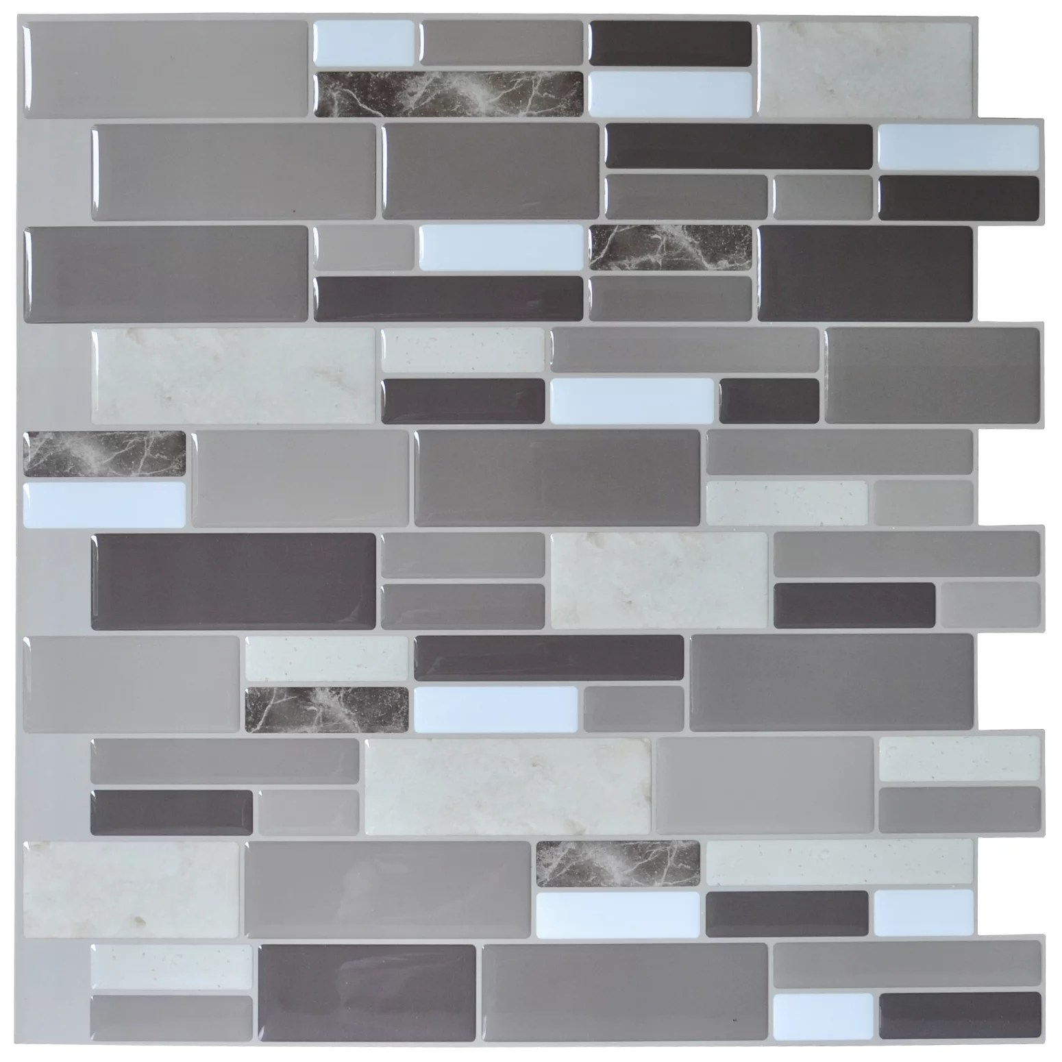 art3d stone gray design 12 in x 12 in peel and stick brick kitchen backsplash wall tile 6 pack