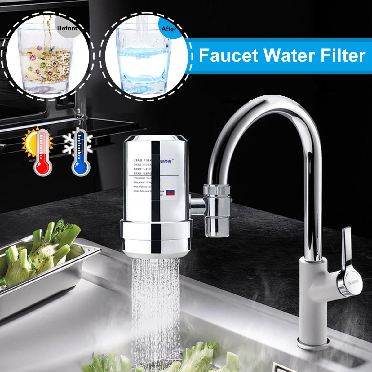 diatom mud ceramic plastic electroplated water purifier kitchen bathroom outdoor hot and cold water faucet water filter tap purifier