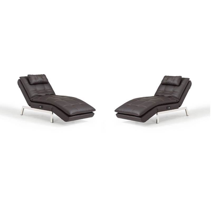 set of 2 faux leather convertible chaise lounge in brown