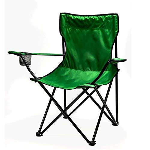 Ovente Outdoor Portable Folding Single Seat Chair with Steel Frame Arm Rest & Mesh Cup Holder, Lightweight Compact Easy Storage with Free Bag Heavy Duty Perfect for Beach Hiking Camping, Green CHR001G