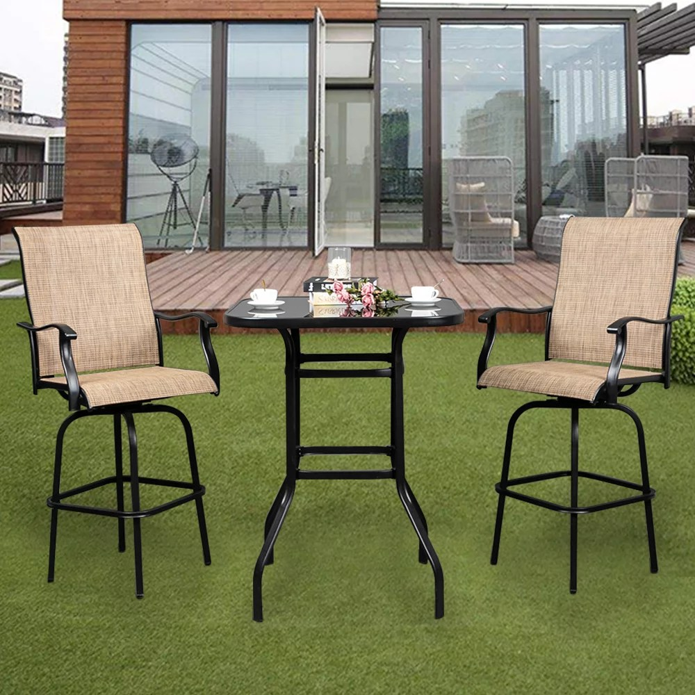 lowestbest 31 x 31 x 40 bar table outdoor table wrought iron glass high table furniture outdoor patio table black