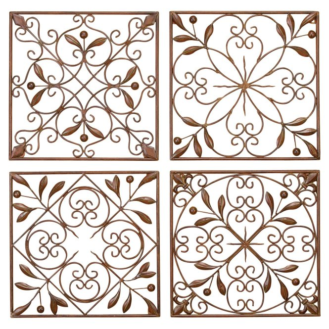 24 Square Scroll Indoor Outdoor Metal Wall Decor