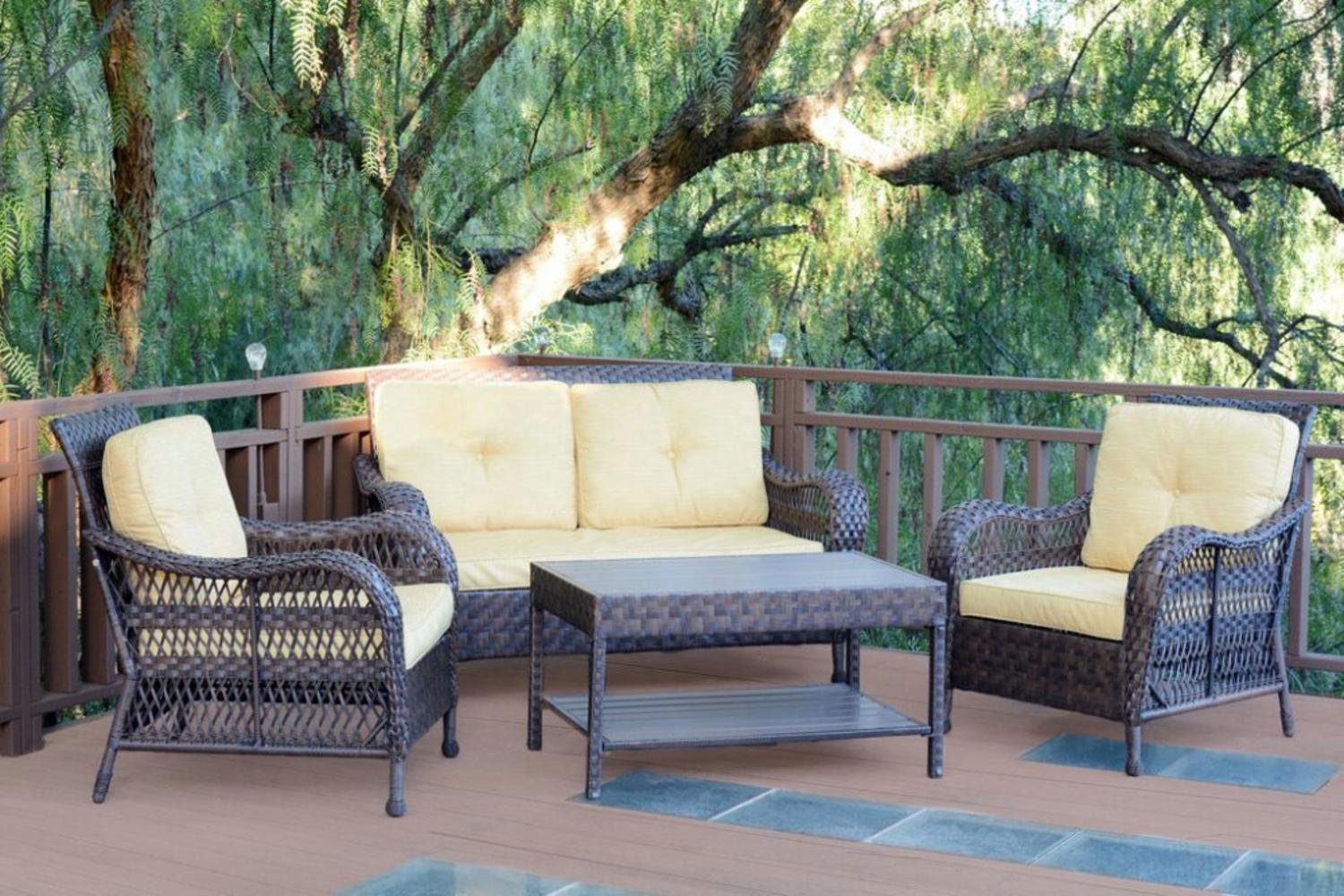 resin wicker patio furniture sets 4-Piece Espresso Resin Wicker Outdoor Patio Conversation