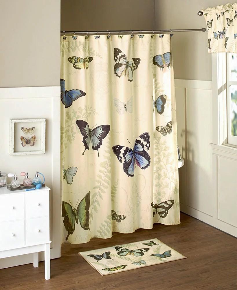 set of 12 butterfly shower curtain hooks