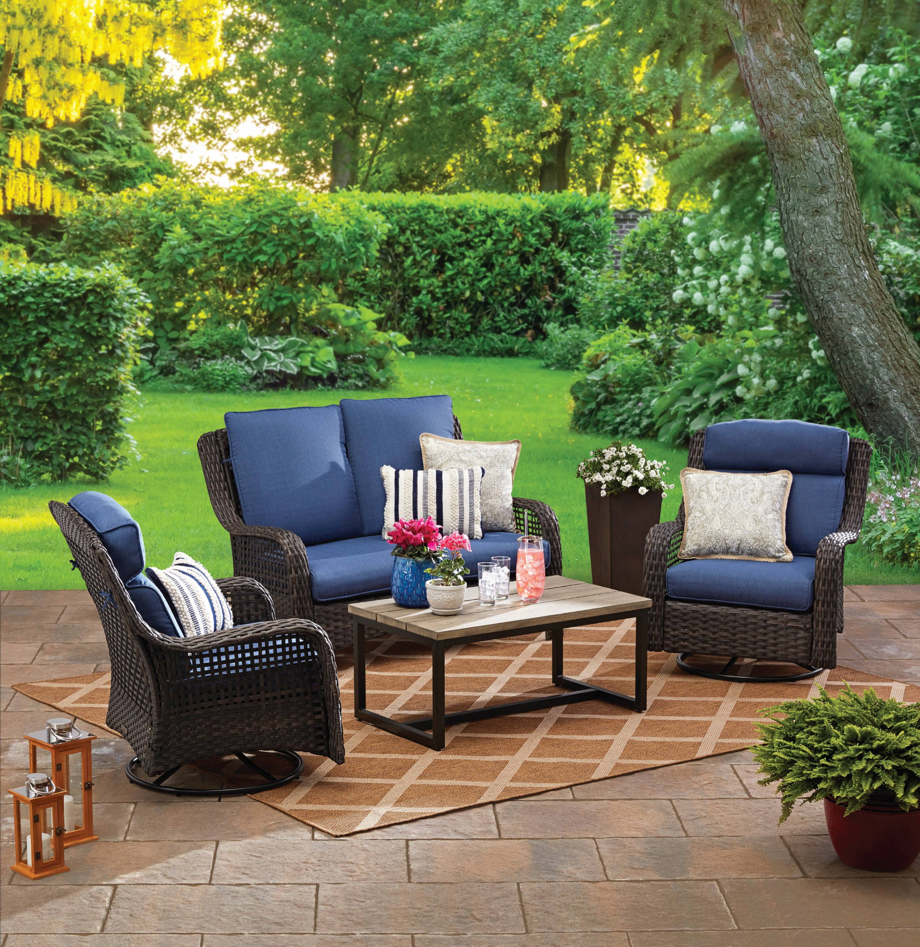better homes gardens ravenbrooke 4 piece patio furniture conversation set wicker with swivel chairs