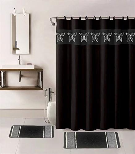 15 piece hotel bathroom sets 2 non slip bath mats rugs fabric shower curtain 12 hooks butterfly black