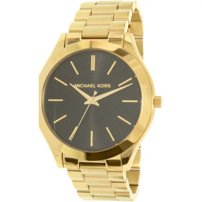 Michael Kors Women's Slim Runway MK3478 Gold Stainless-Steel Quartz Fashion Watch