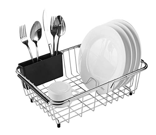 expandable dish drying rack 304 stainless steel over sink dish drainer dish rack in sink or on counter with utensil drying rack rustproof medium