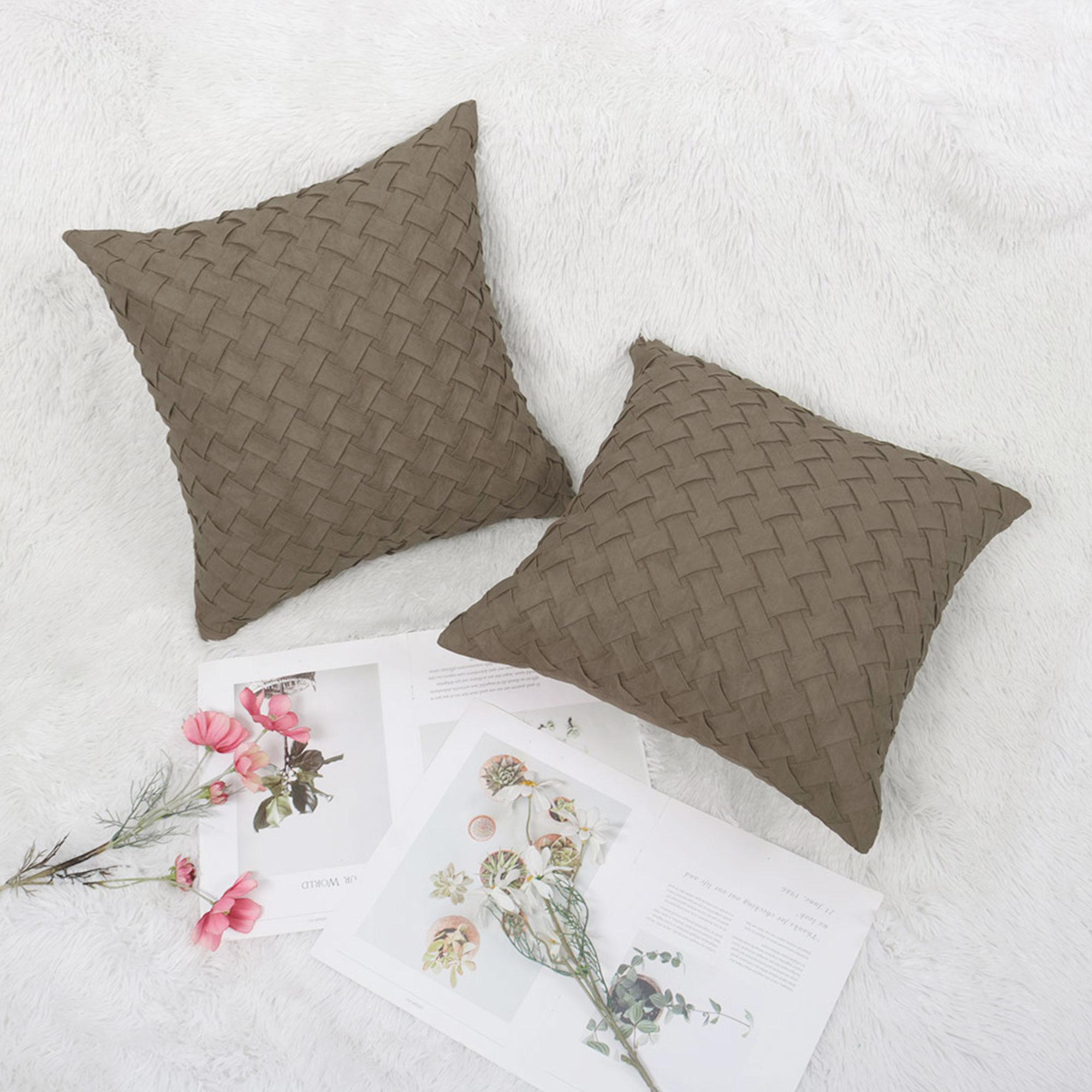 piccocasa basket weave polyester throw pillow case 2pcs 18 x18 coffee color